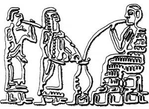 Upodobitev Sumercev, ki pijejo pivo skozi slamice, 3000 let pr. Kr.