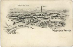 Pivovarna Mengeš okoli leta 1900, desno valjčni mlin v Preserjah