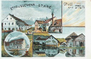 Posestvo Staretovih v Kamniku; levo spodaj bivša Svetlinova pivovarna, kasneje Staretova kisarna