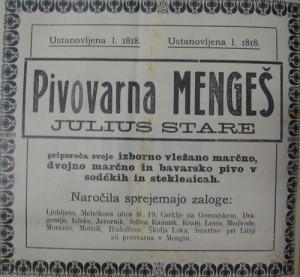Oglas Pivovarne Mengeš - Julius Stare iz leta 1913